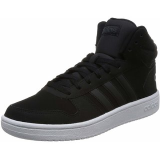 Adidas Mens Hoops 2.0 Mid Black Sneakers