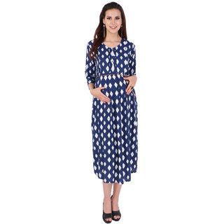 MomToBe Women's Rayon Oxford Blue & Daisy White Maternity Dress