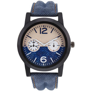 R P S fashion new looked blue lether strep men  watch 6 month warranty