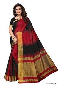 Bhuwal Fashion Woven, Self Design Daily Wear Silk Cotton Blend Saree  -BF5164BlackRed