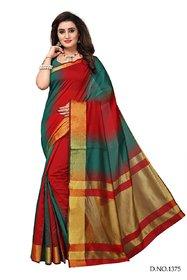 Bhuwal Fashion Striped Daily Wear Silk Cotton Blend Saree  BF5164GreenRed