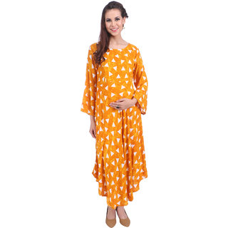 MomToBe Women's Rayon Fire Yellow Maternity Kurti