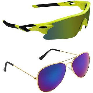 Zyaden Combo of 2 Sunglasses Sport and Aviator Sunglasses- COMBO 2669
