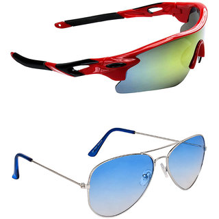 b26ad08a57 Buy Zyaden Combo of 2 Sunglasses Sport and Aviator Sunglasses- COMBO ...