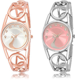 The Shopoholic Silver Pink Combo Fashionable Funky Look Silver And Pink Dial Analog Watch For  Girls Stylish Watches For Girls