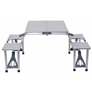 IRIS Outdoor Aluminium Portable Folding Camping Picnic Table with 4 Seats
