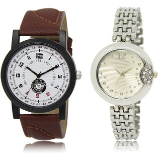 The Shopoholic White Silver Combo Stylist Designer Combo Pack 2 White And Silver Dial Analog Watch For  Boys  And  Girls Mens Casual Watches
