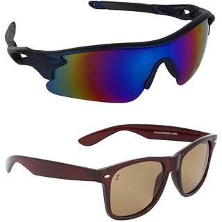 Zyaden Combo of 2 Sunglasses Sport and Wayfarer Sunglasses- COMBO 2882