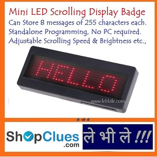 LED Programmable Scrolling Name Message Board Badge Tag Digital English Display