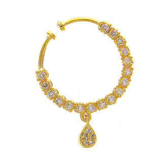 Anuradha Art Gold Finish Styled With Studded American Stone Wonderful Dulhan Nose Ring/Pin For Women/Girls