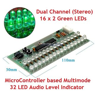 E37 VU Meter Audio Level Indicator Stereo Dual Channel 32 Green LED Module Board