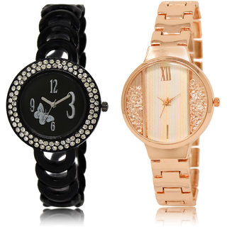 The Shopoholic Black White Combo Best Combo Pack Black And White Dial Analog Watch For  Girls Heart Watch