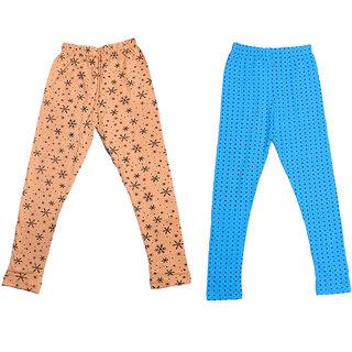 IndiWeaves Girls Super Soft and Stylish Cotton Printed Churidar Legging(Pack of 2)
