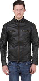 Leather Retail Black Faux Leather Designer Jacket for Man