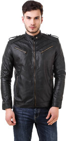 Leather Retail Black Spanish faux Leather Jacket For Man