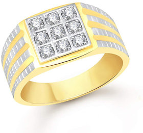 Sukai Jewels Royal Look Gold Plated Alloy  Brass Cubic Zirconia Finger Ring for Men SFR332G