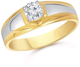 Sukai Jewels Single Solitaire Gold Plated Alloy & Brass Cubic Zirconia Finger Ring for Men [SFR334G]