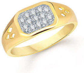 Sukai Jewels Reticular Soliatire Gold Plated Alloy & Brass Cubic Zirconia Finger Ring for Men [SFR335G]