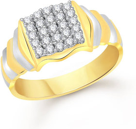 Sukai Jewels Stylish Solitire Gold Plated Alloy & Brass Cubic Zirconia Finger Ring for Men [SFR356G]