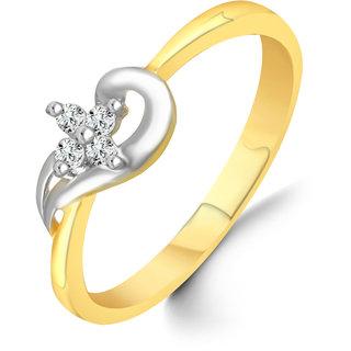 Sukai Jewels Center Star Pattern Diamond Studded Gold Plated Alloy & Brass Cubic Zirconia Finger Ring for Women & Girls [SFR114G]