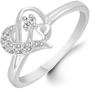 Sukai Jewels Floral Heart Diamond Studded Rhodium Plated Alloy & Brass Cubic Zirconia Finger Ring for Women & Girl [SFR121R]
