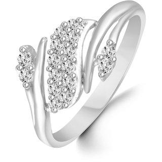 Sukai Jewels Zig Zag Diamond Studded Rhodium Plated Alloy & Brass Cubic Zirconia Finger Ring for Women & Girls [SFR128R]