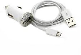 Combo of Car Charger + Charging cum Data Cable (Assorted colors)
