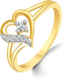 Sukai Jewels Center Solitaire Heart Diamond Studded Gold Plated Alloy & Brass Cubic Zirconia Finger Ring for Women & Girls [SFR141G]