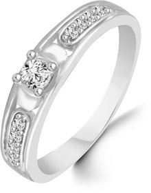Sukai Jewels Center Solitaire Diamond Studded Rhodium Plated Alloy & Brass Cubic Zirconia Finger Ring for Women & Girls [SFR154R]