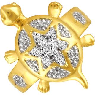 Sukai Jewels Money Tortoise Diamond Studded Gold Plated Alloy & Brass Cubic Zirconia Finger Ring for Women & Girls [SFR153G]
