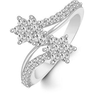 Sukai Jewels Double Star Diamond Studded Rhodium Plated Alloy & Brass Cubic Zirconia Finger Ring for Women & Girls [SFR156R]
