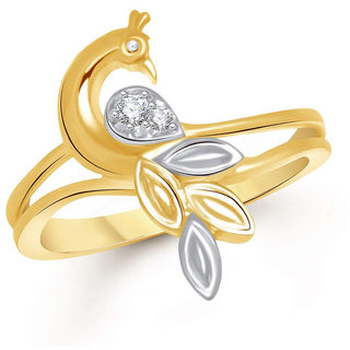 Sukai Jewels Peacock Inspired Gold Plated Alloy & Brass Cubic Zirconia Studded Finger Ring for Women & Girls [SFR177G]