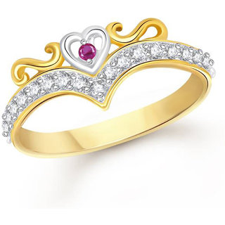 Sukai Jewels Crown Heart Gold Plated Alloy & Brass Cubic Zirconia Studded Finger Ring for Women & Girls [SFR189G]