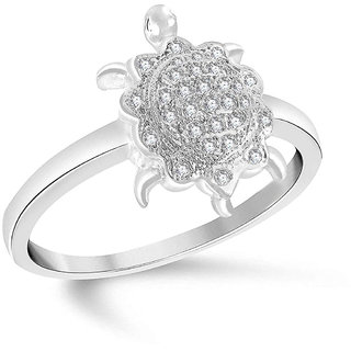 Sukai Jewels Tortoise Rhodium Plated Alloy  Brass Cubic Zirconia Studded Finger Ring for Women  Girls SFR235R