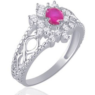 Sukai Jewels Center Pink Pearl Floral Rhodium Plated Alloy Brass Cubic Zir