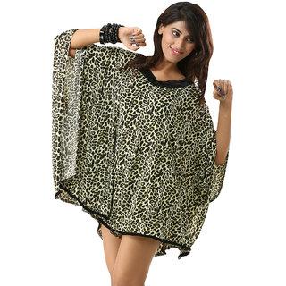 Women's Batwing Sleeve V-Neck Greenish Wild Leopard Print Kaftan Swimwear Cover Up Dress