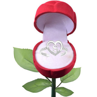 Sukai Jewels Special 'S' Heart Rhodium Plated Alloy Cubic Zirconia Studded Finger Ring with Rose for Women & Girls [SFR285R]