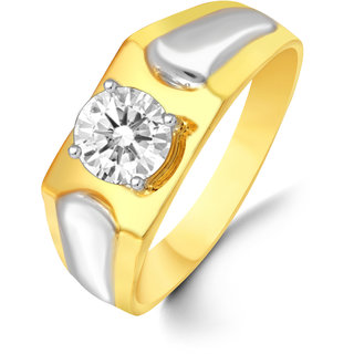 Sukai Jewels Single Solitaire Descent Look Gold Plated Alloy & Brass Cz American Diamond Finger Ring for Men [SFR101G]