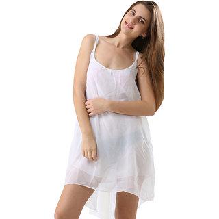 One Piece Dress Spaghetti Strap Back Metal Cross Cutout Sleeveless White Color