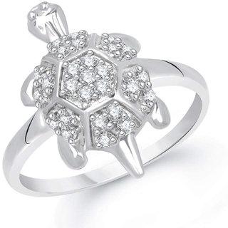 Sukai Jewels Diamond Tortosie Rhodium Plated Alloy & Brass Cubic Zirconia Finger Ring for Men [SFR301R]