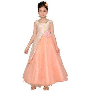 Kashish Peach Self Design Party wear Gown