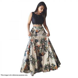 New Bollywood Designer White And Black Digital Printed Lehenga Choli