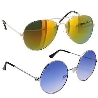 08129591782 Buy Code Yellow Women s Orange Mirror Aviator and Blue Gandhi Sunglasses  Combo Online - Get 76% Off