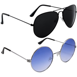 43b46be412 Buy Code Yellow Women s Black Aviator and Blue Gandhi Sunglasses Combo  Online - Get 78% Off