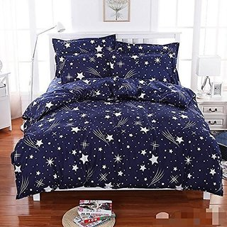 Home Berry Blue Star Print Double Bed sheet With 2 Pillow Cover