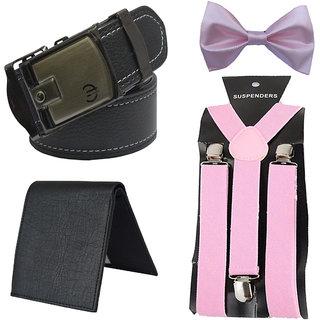 Sunshopping men's black belt black wallet, suspender, bow (pack of four)