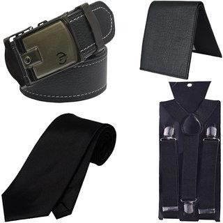 Sunshopping men's black belt black wallet, suspender, tie (pack of four) (Synthetic leather/Rexine)
