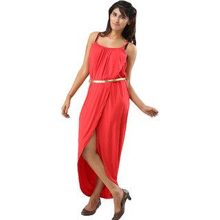 Adorable  Red Sexy Summer Bohemian Dress Irregular Women Beach Dresses Pleated Skirt Fashion Vintage Maxi Belt Casual La