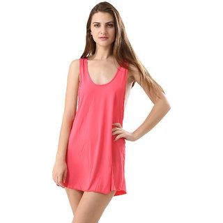 Trendy Solid Pink Colour Swimwear Bikini Cover Ups Beach Dress For Women