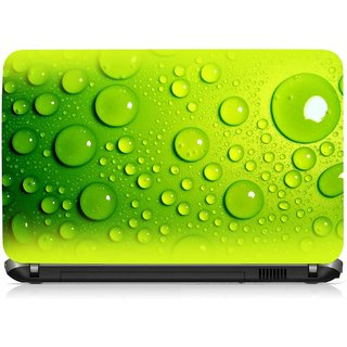 VI Collections Greenish Bubles Printed Vinyl Laptop Decal 15.5